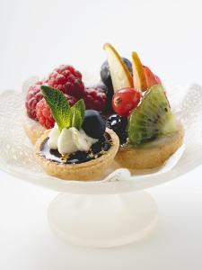 Fruit Tarts on a Pedestal Cake Stand