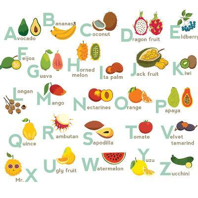 Fruits Abc Vector Set. Exotic Tropical Fruits Vegetable Alphabet.-coffeee_in-Art Print
