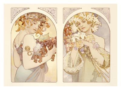 Fruits and Flowers-Alphonse Mucha-Giclee Print