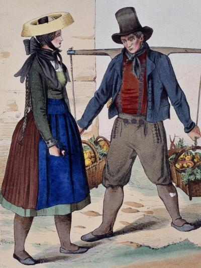Fruits and Vegetable Vendor, from Costumes of Wuerttemberg, Germany, 19th Century--Giclee Print