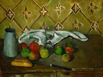 Fruits, Napkin and Milk Jar-Paul C?zanne-Giclee Print