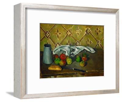 Fruits, serviette et boite a lait. Canvas, 60 x 73 cm RF 1960-10.-PAUL CEZANNE-Framed Giclee Print
