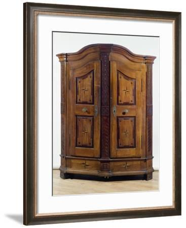 Fruitwood Cabinet with Molded Cornice and Carved Panels, Ca 1780, Germany--Framed Giclee Print