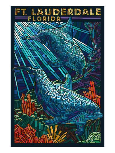 Ft. Lauderdale, Florida - Dolphin Paper Mosaic-Lantern Press-Art Print