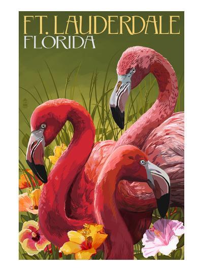 Ft. Lauderdale, Florida - Flamingo Scene-Lantern Press-Art Print