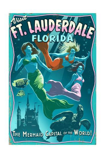 Ft. Lauderdale, Florida - Live Mermaids-Lantern Press-Art Print