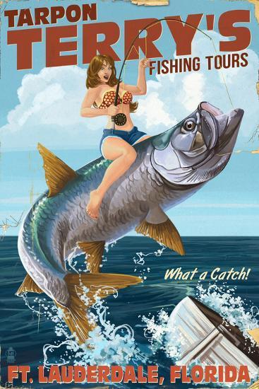 Ft. Lauderdale, Florida - Pinup Girl Tarpon Fishing-Lantern Press-Art Print