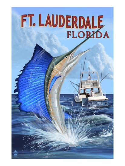 Ft. Lauderdale, Florida - Sailfish Scene-Lantern Press-Art Print