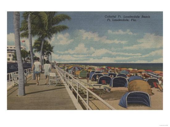 Ft. Lauderdale, Florida - View of Ft. L. Boardwalk-Lantern Press-Art Print