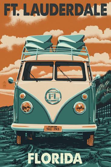 Ft. Lauderdale, Florida - VW Van-Lantern Press-Art Print