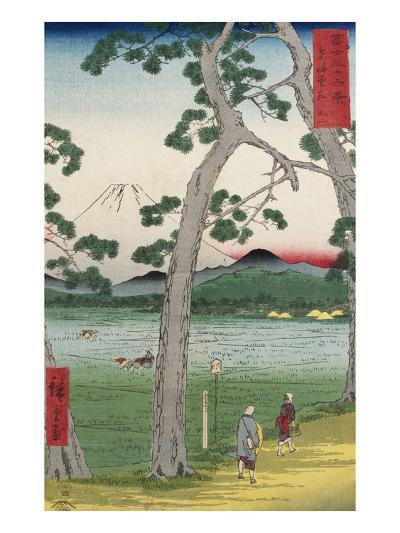 Fuji on the Left of the Tokaido Road, from 'Thirty Six Views of Mount Fuji'-Ando Hiroshige-Giclee Print