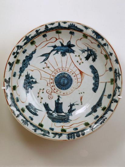 Fujian Plate with Maritime Motif, Swatow Porcelain,1573-1620, Ming Dynasty--Photographic Print