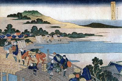Fukui Bridge, Province of Echizen, C1785-1849-Katsushika Hokusai-Giclee Print