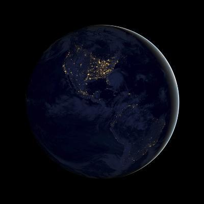 Full Earth at Night Showing City Lights of the Americas-Stocktrek Images-Photographic Print