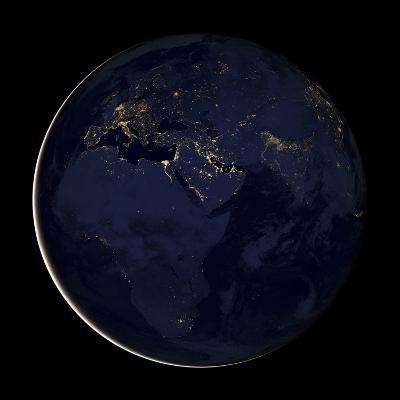 Full Earth Showing City Lights of Africa, Europe, And the Middle East-Stocktrek Images-Photographic Print