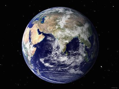 Full Earth Showing Europe and Asia (With Stars)-Stocktrek Images-Photographic Print