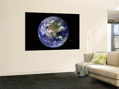 Full Earth Showing North America (With Stars)--Wall Mural