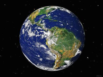 Full Earth Showing South America (With Stars)-Stocktrek Images-Photographic Print