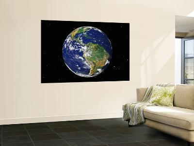 Full Earth Showing South America (With Stars)--Wall Mural