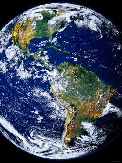 Full Earth Showing the Americas-Stocktrek Images-Photographic Print