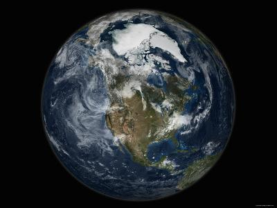 Full Earth View Showing North America-Stocktrek Images-Photographic Print