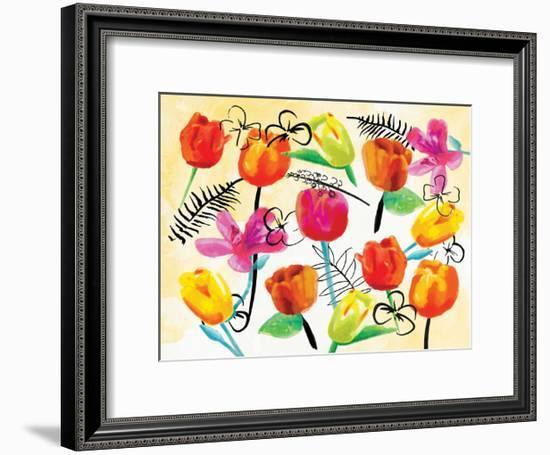 Full Floral Ink-OnRei-Framed Art Print