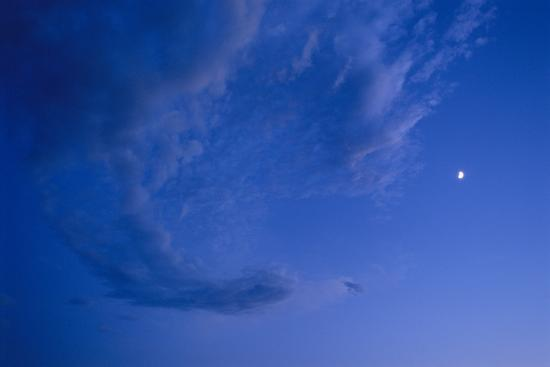 Full Frame of a Waxing Moon in the Bright Blue Sky-Michael Forsberg-Photographic Print