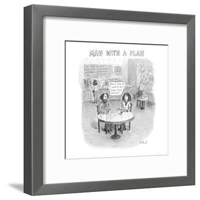 "Full grown slacker in coffee shop says, ""When I grow up, I want to be a he?"" - New Yorker Cartoon-Roz Chast-Framed Premium Giclee Print"