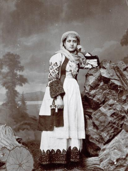 Full-Length Portrait of a Young Greek Woman in Traditional Attire. She is Wearing a Veil--Photographic Print