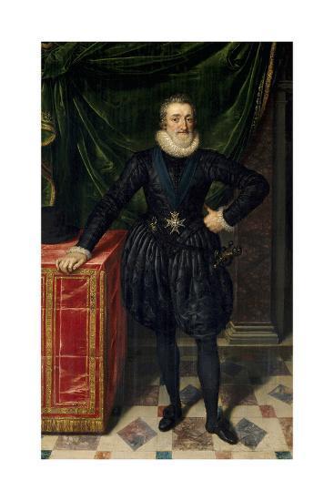 Full Length Portrait of Henri IV of France, Ca.1600-10-Frans Poubus the Younger-Giclee Print