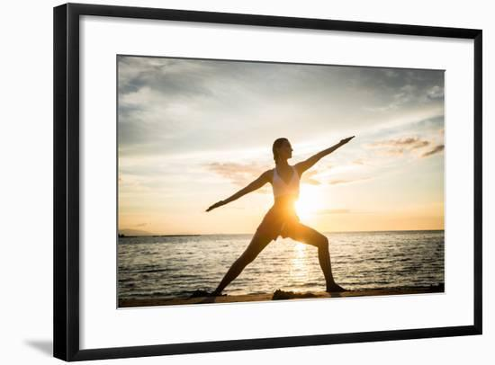 Full Length Side View of the Silhouette of a Fit Woman Practicing the Warrior Yoga Pose against Sky-Kzenon-Framed Photographic Print
