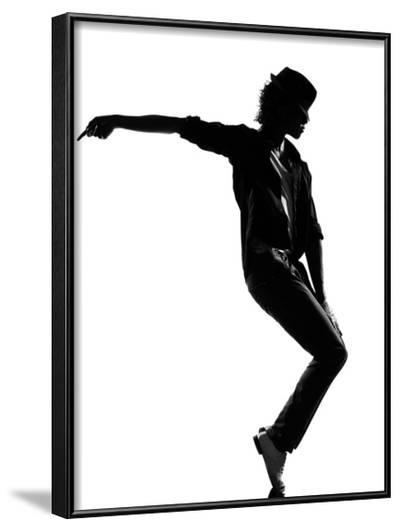 Full Length Silhouette Of A Young Man Dancer Dancing Funky Hip Hop R And B-OSTILL-Framed Art Print