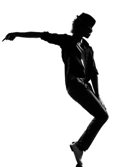 Full Length Silhouette Of A Young Man Dancer Dancing Funky Hip Hop R And B-OSTILL-Art Print