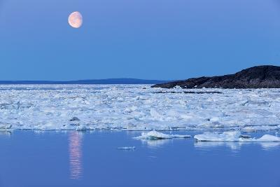 Full Moon and Melting Sea Ice, Repulse Bay, Nunavut Territory, Canada-Paul Souders-Photographic Print