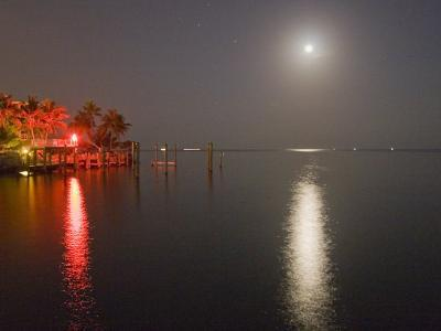 Full Moon and Red Light Reflecting in Water in a Tropical Setting-Mike Theiss-Photographic Print