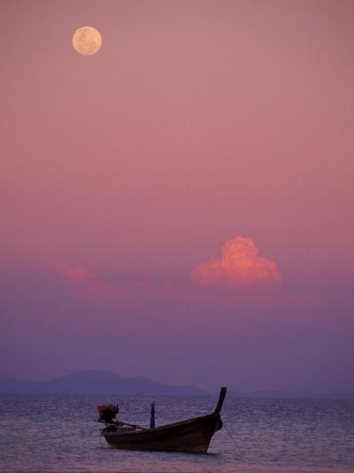 Full Moon and Sunset Behind Fishing Boat, Phi Phi Island, Thailand-Claudia Adams-Photographic Print