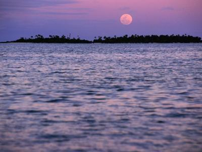 Full Moon at Sunset, Cook Islands-Peter Hendrie-Photographic Print
