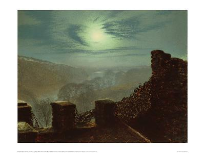 Full Moon Behind Cirrus Cloud from the Roundhay Park Castle Battlements-John Atkinson Grimshaw-Giclee Print