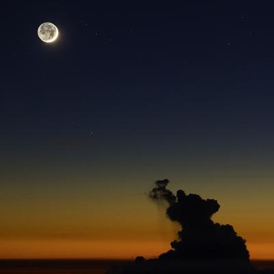 Full Moon in Sky with Colorful Twilight Horizon from the Summit of Haleakala, Hawaii-Babak Tafreshi-Photographic Print