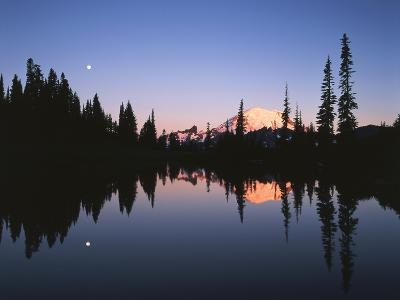 Full Moon in Upper Tipsoo Lake, Mount Rainier National Park, Washington, USA-Adam Jones-Photographic Print