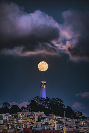 Full Moon Mood Coit Tower, San Francisco Iconic Travel-Vincent James-Photographic Print