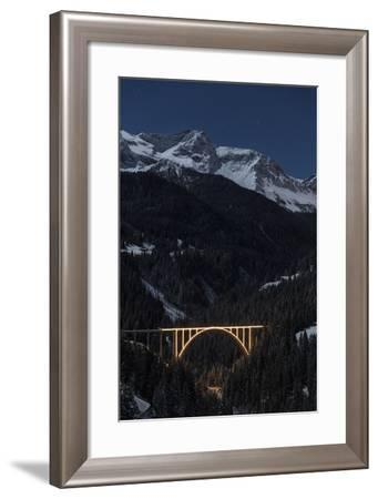 Full Moon Night at Langwies in Canton of Grisons-Armin Mathis-Framed Photographic Print