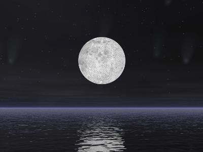 Full Moon on a Dark Night with Stars and Comets over the Ocean--Art Print