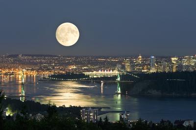 Full Moon Over Vancouver-David Nunuk-Photographic Print