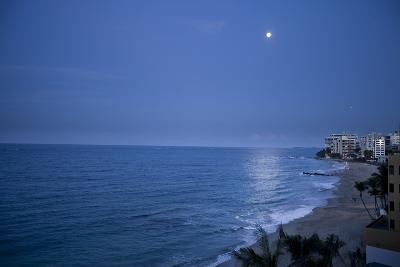 Full Moon Rise Over the Beach and Sea in Puerto Rico-Stephen Alvarez-Photographic Print