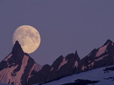 Full Moon Rises Behind Chugach Mountains, Alaska, USA-Paul Souders-Photographic Print