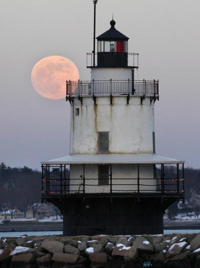 Full Moon Rises Behind the Spring Point Light House in South Portland, Maine--Photographic Print