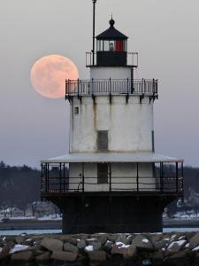 Full Moon Rises Behind the Spring Point Light House in South Portland, Maine