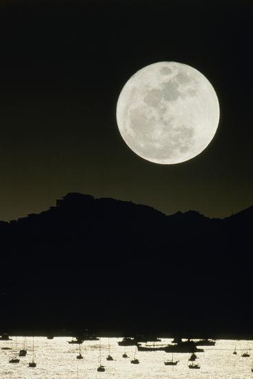 Full Moon Seen From Earth Over Mountains-David Nunuk-Photographic Print