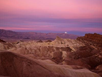 Full moon setting over Manly Beacon at Zabriskie Point-Michael Melford-Photographic Print